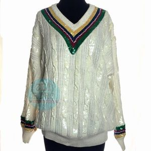 80s vtg Cable Knit Sequin Sweater